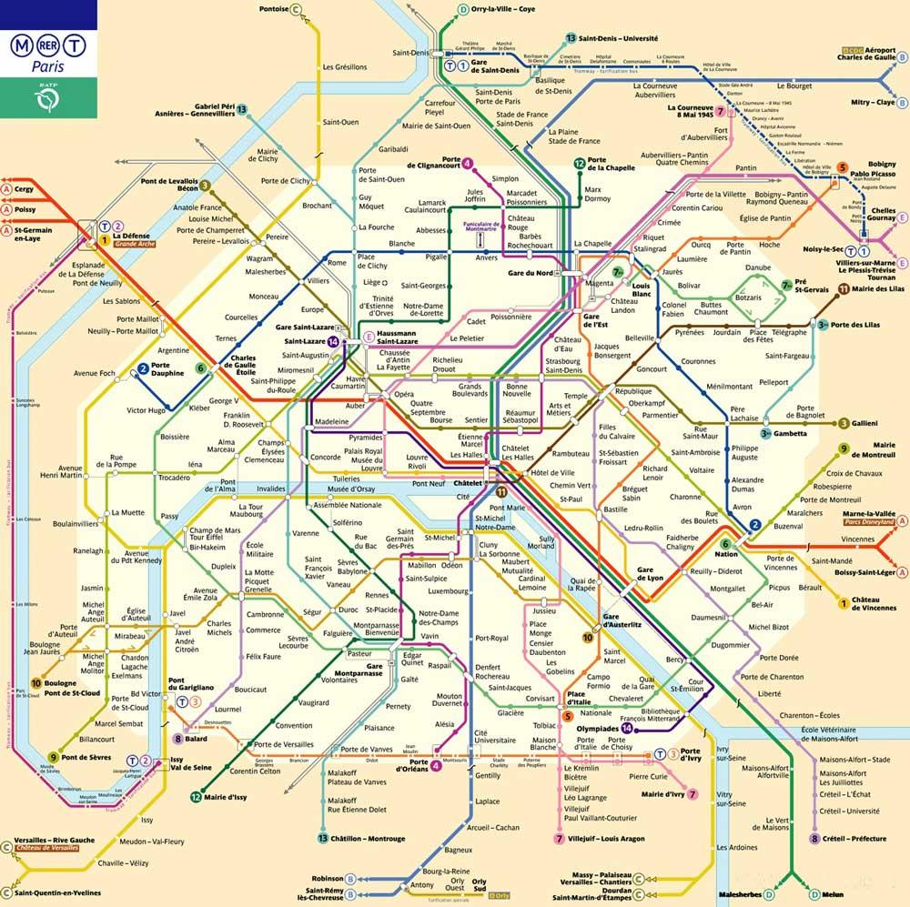 法国巴黎地铁线路图_运营时间票价站点_查询下载 法国地铁线路图 第2张