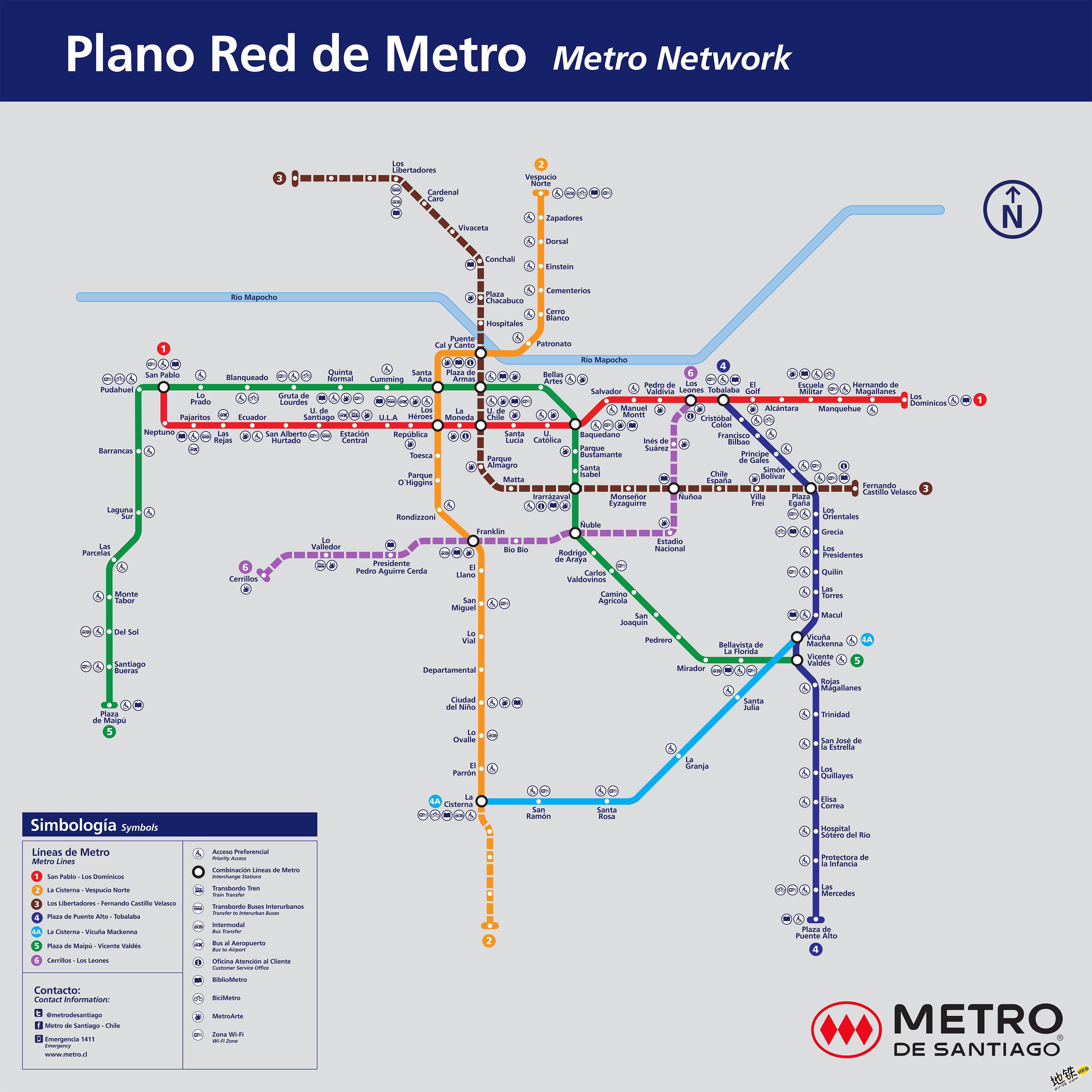 智利圣地亚哥地铁线路图_运营时间票价站点_查询下载 智利地铁线路图 第2张