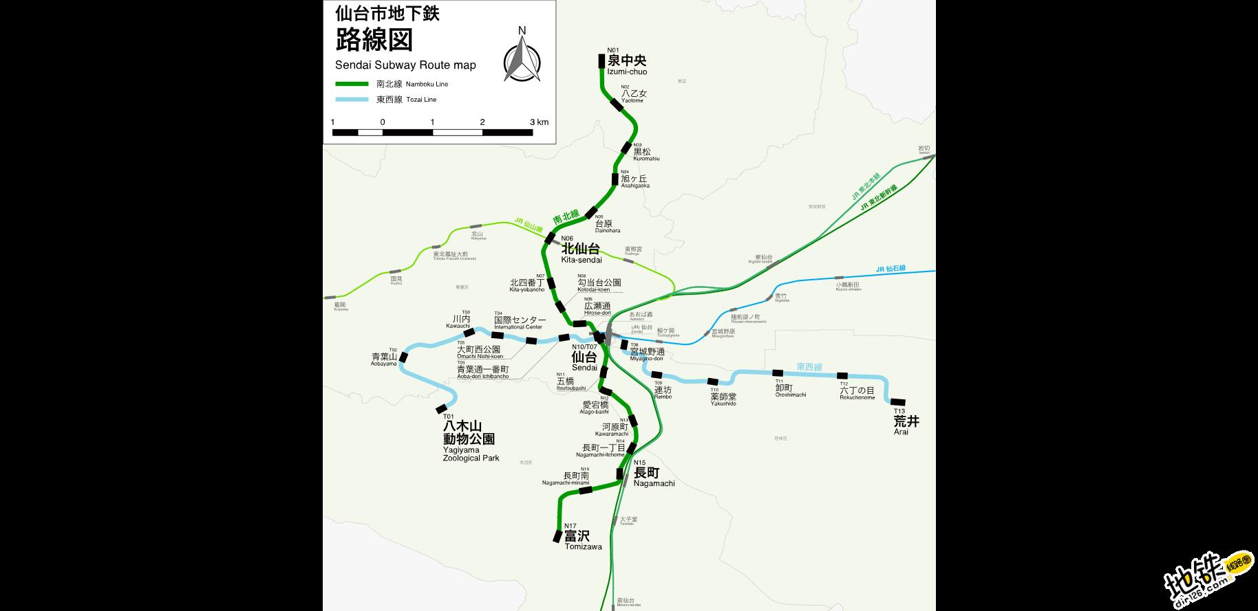 日本仙台市营地铁线路图_运营时间票价站点_查询下载 日本地铁线路图 第2张
