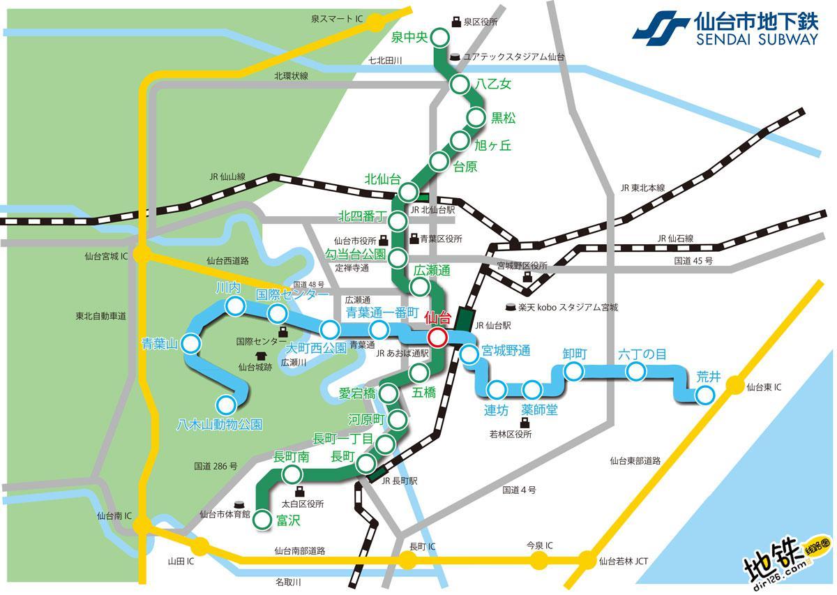 日本仙台市营地铁线路图_运营时间票价站点_查询下载 日本地铁线路图 第3张