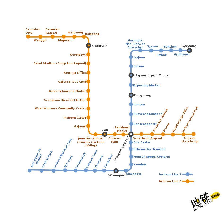 韩国仁川都市地铁线路图_运营时间票价站点_查询下载 韩国地铁线路图 第3张