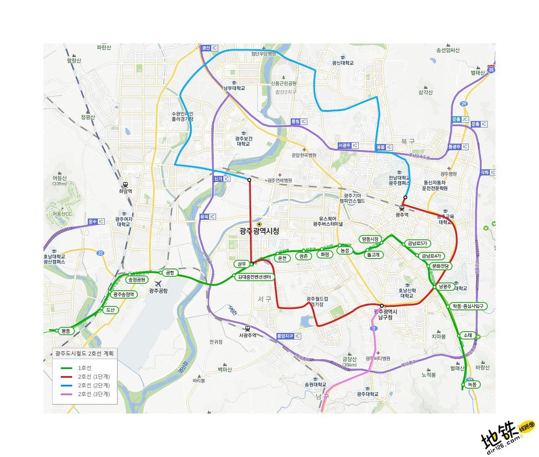 韩国光州都市地铁线路图_运营时间票价站点_查询下载 韩国地铁线路图 第3张