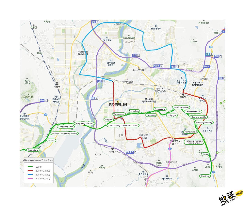 韩国光州都市地铁线路图_运营时间票价站点_查询下载 韩国地铁线路图 第4张