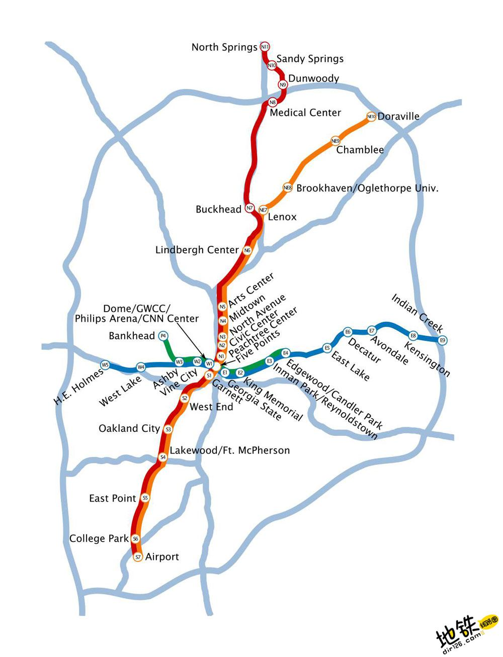 美国亚特兰大地铁线路图 运营时间票价站点 查询下载 亚特兰大地铁票价查询 亚特兰大地铁运营时间 亚特兰大地铁线路图 亚特兰大地铁 美国亚特兰大地铁 美国地铁线路图  第2张
