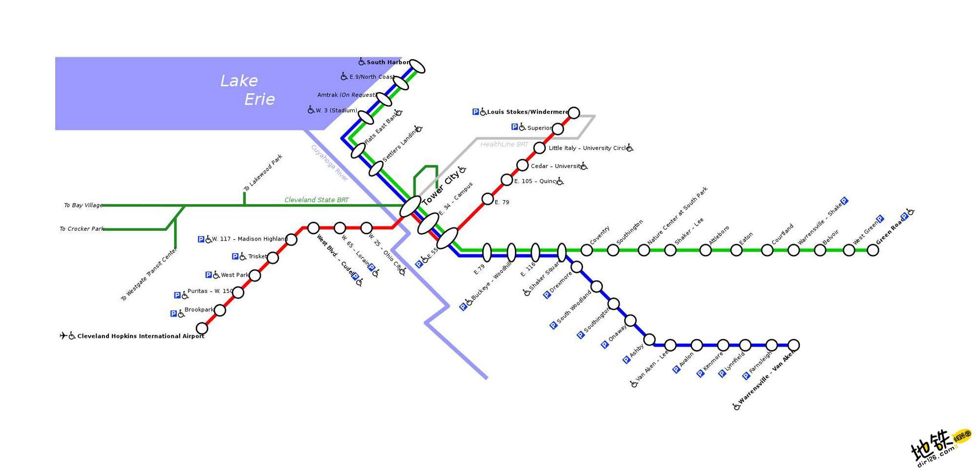 美国克利夫兰地铁线路图 运营时间票价站点 查询下载 克利夫兰地铁票价查询 克利夫兰地铁运营时间 克利夫兰地铁线路图 克利夫兰地铁 美国克利夫兰地铁 美国地铁线路图  第2张
