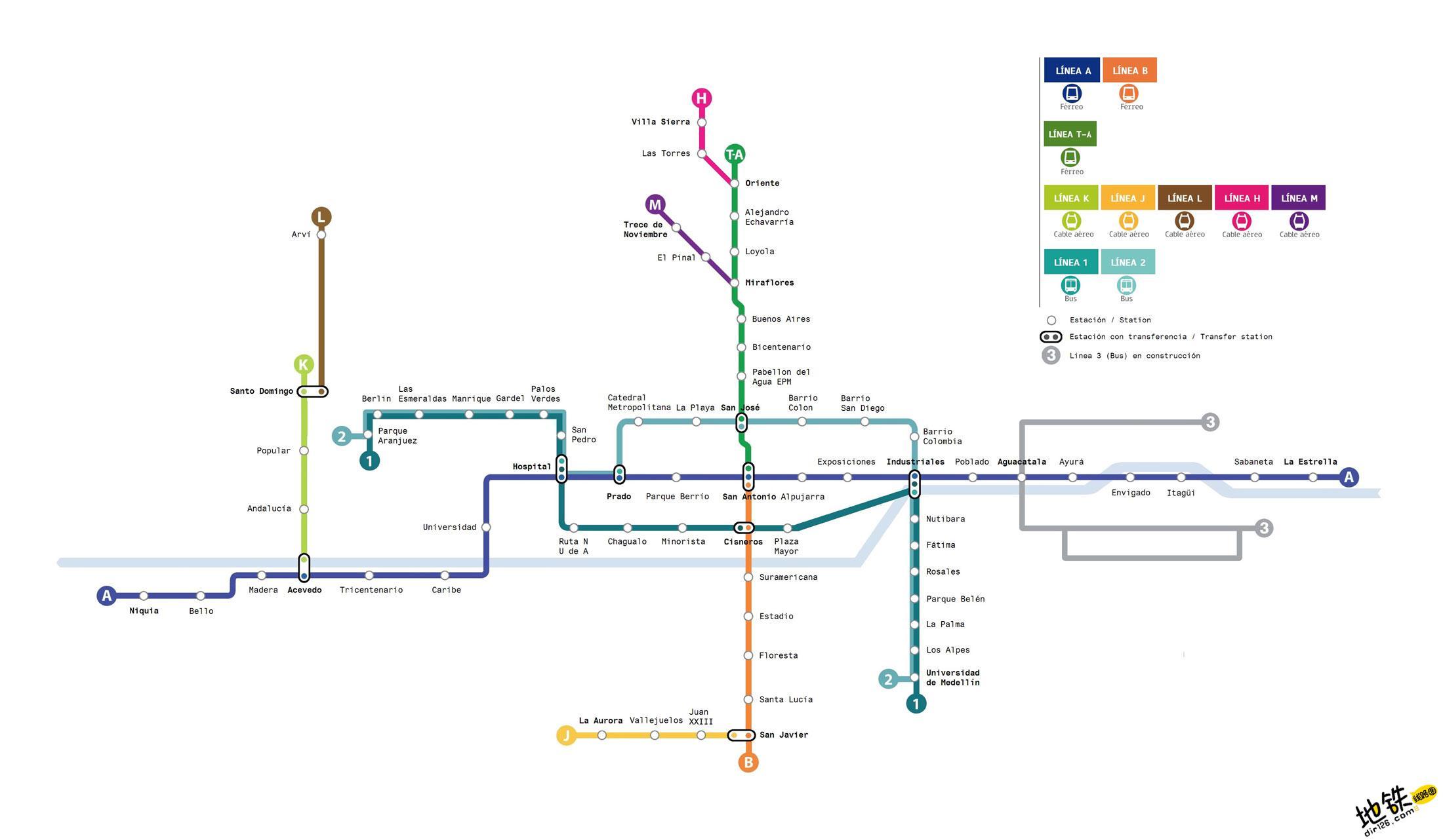 哥伦比亚麦德林地铁线路图 运营时间票价站点 查询下载 麦德林地铁票价查询 麦德林地铁运营时间 麦德林地铁线路图 麦德林地铁 哥伦比亚麦德林地铁 哥伦比亚地铁线路图  第2张