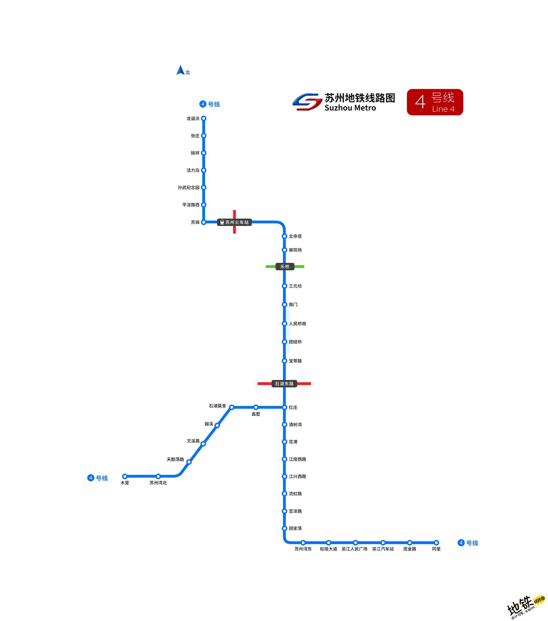 苏州地铁4号线线路图_运营时间票价站点_查询下载 苏州地铁线路图 第2张