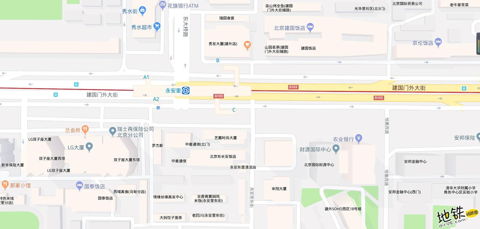 永安里地铁站 北京地铁永安里站出入口 地图信息查询  北京地铁站  第2张