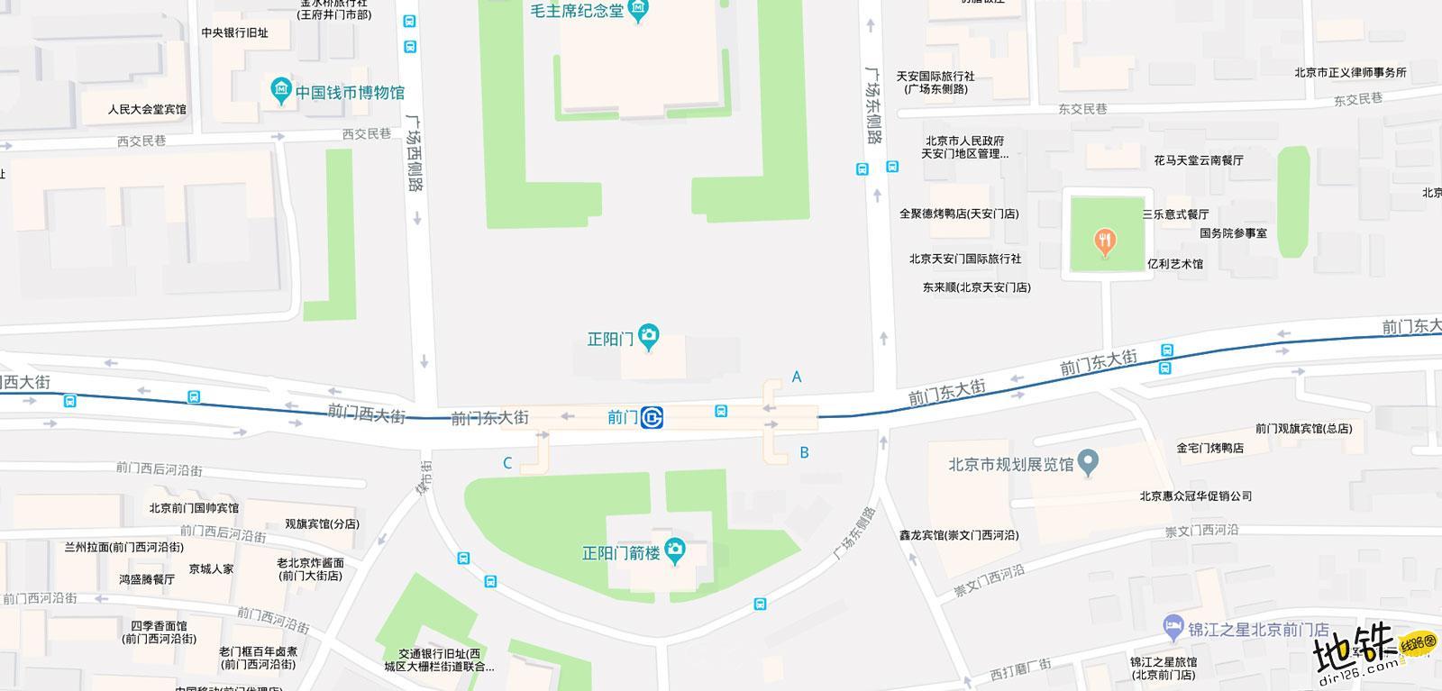 前门地铁站 北京地铁前门站出入口 地图信息查询  北京地铁站  第2张