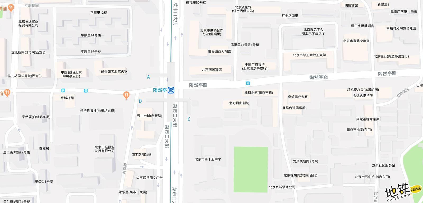 陶然亭地铁站 北京地铁陶然亭站出入口 地图信息查询  北京地铁站  第2张
