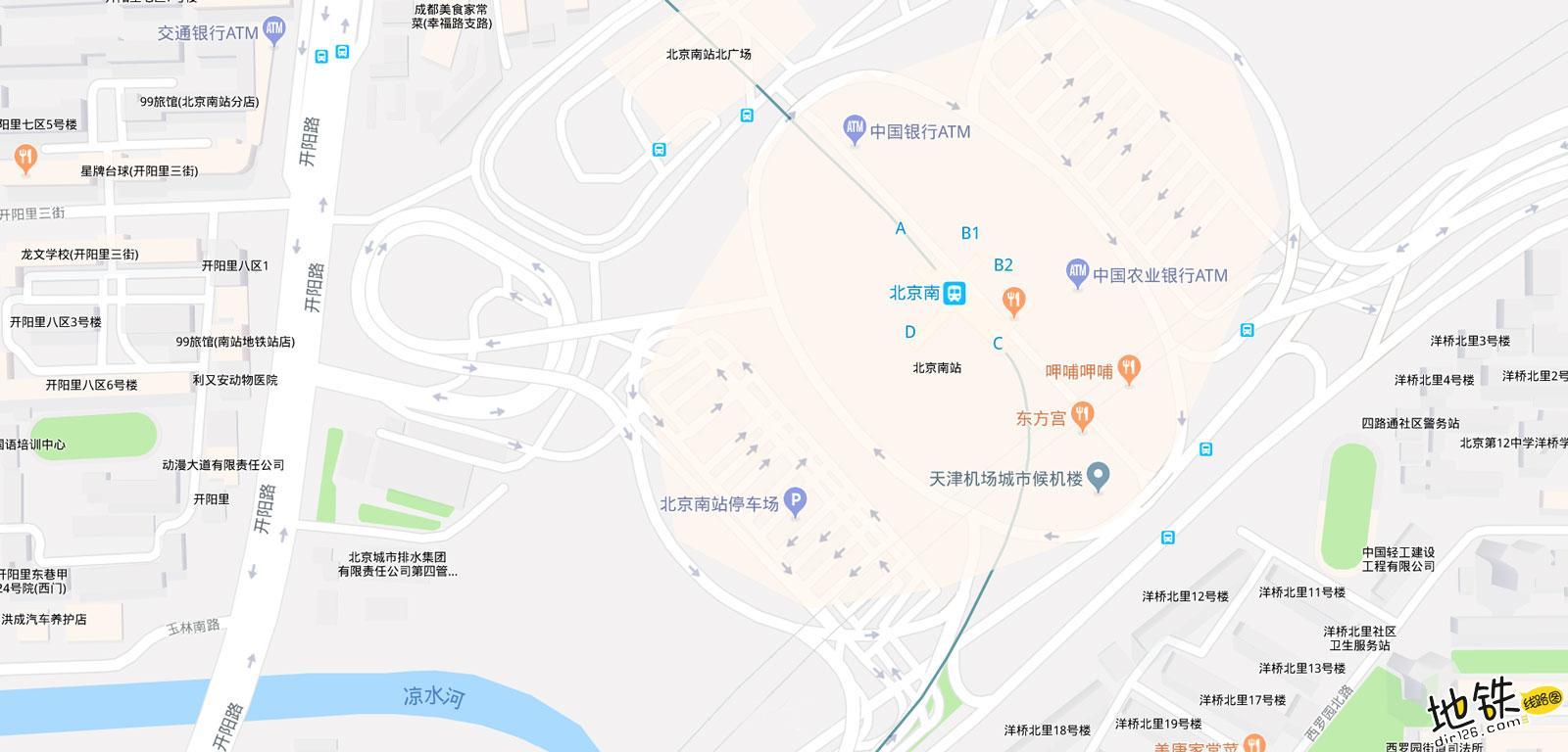 北京南站地铁站 北京地铁北京南站站出入口 地图信息查询  北京地铁站  第2张