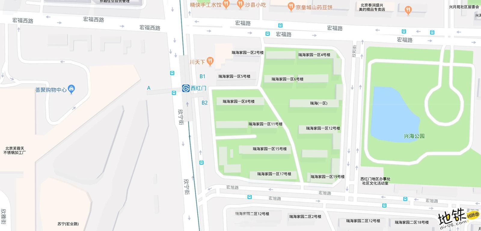 西红门地铁站 北京地铁西红门站出入口 地图信息查询  北京地铁站  第2张