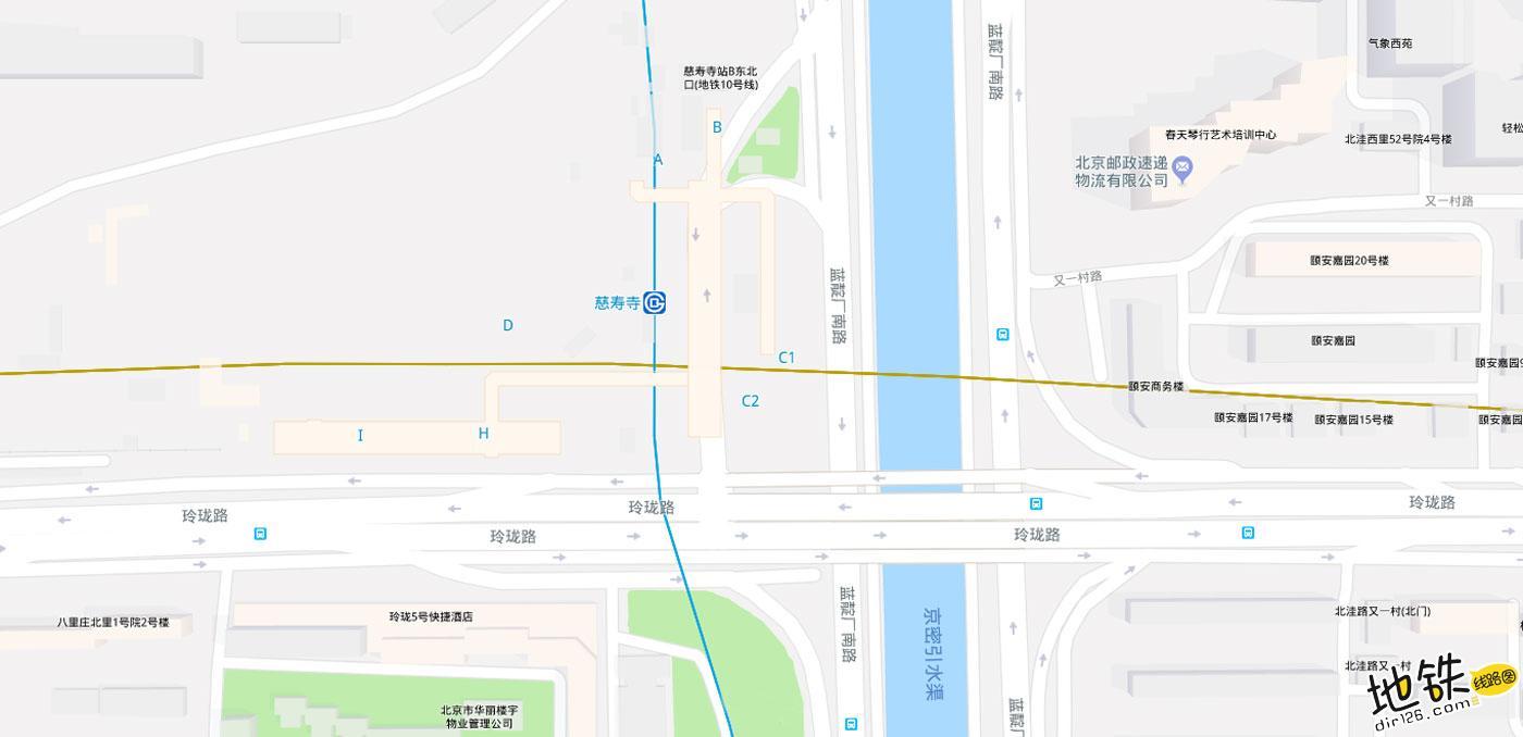 慈寿寺地铁站 北京地铁慈寿寺站出入口 地图信息查询  北京地铁站  第2张