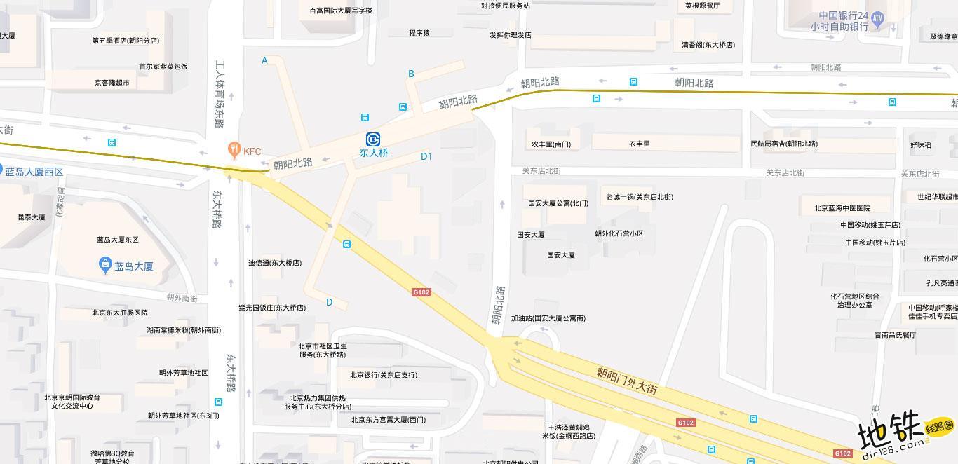 东大桥地铁站 北京地铁东大桥站出入口 地图信息查询  北京地铁站  第2张