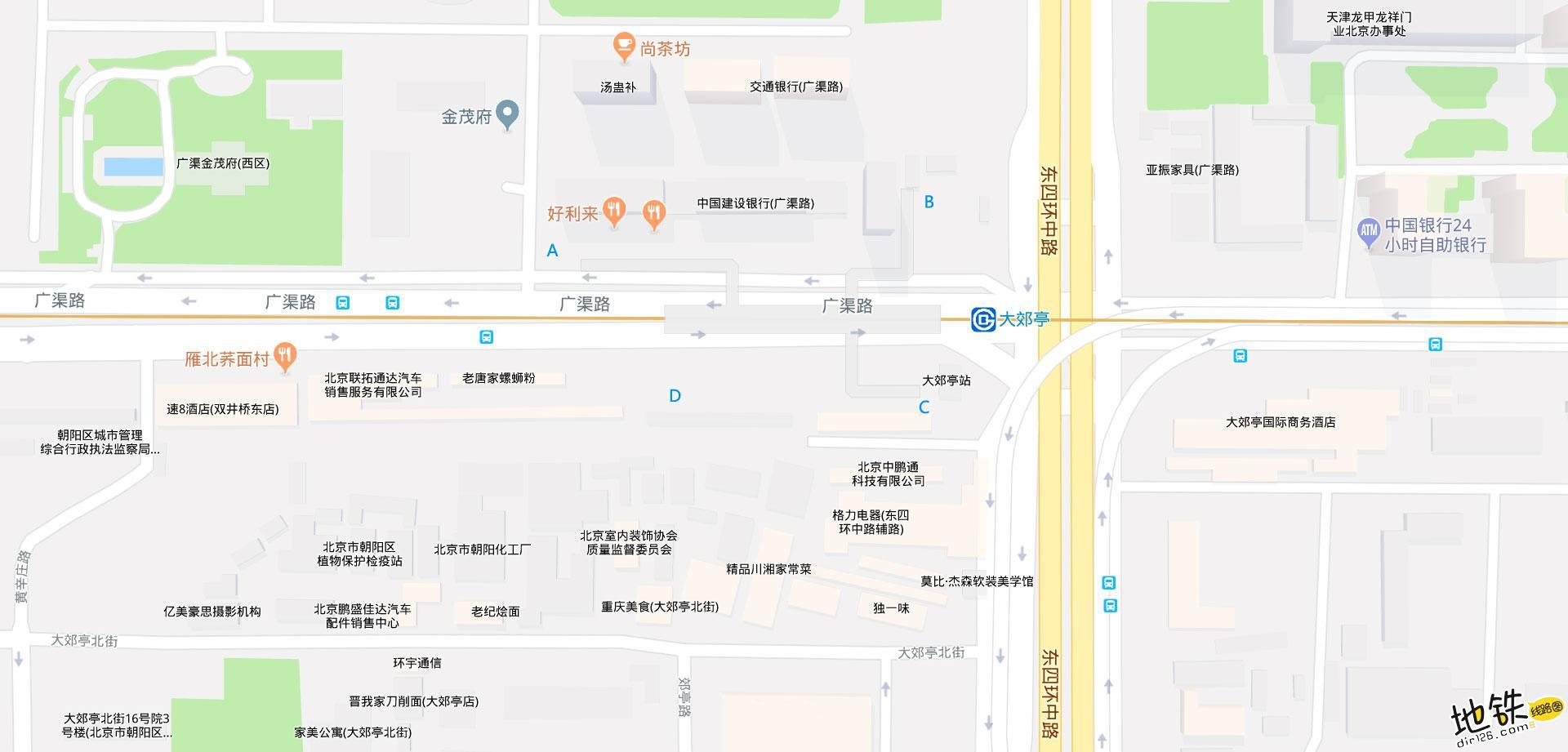 大郊亭地铁站 北京地铁大郊亭站出入口 地图信息查询  北京地铁站  第2张