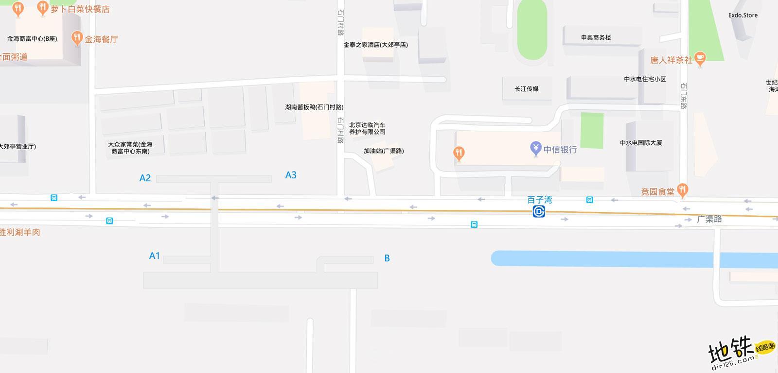 百子湾地铁站 北京地铁百子湾站出入口 地图信息查询  北京地铁站  第2张