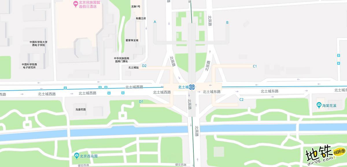 北土城地铁站 北京地铁北土城站出入口 地图信息查询  北京地铁站  第2张