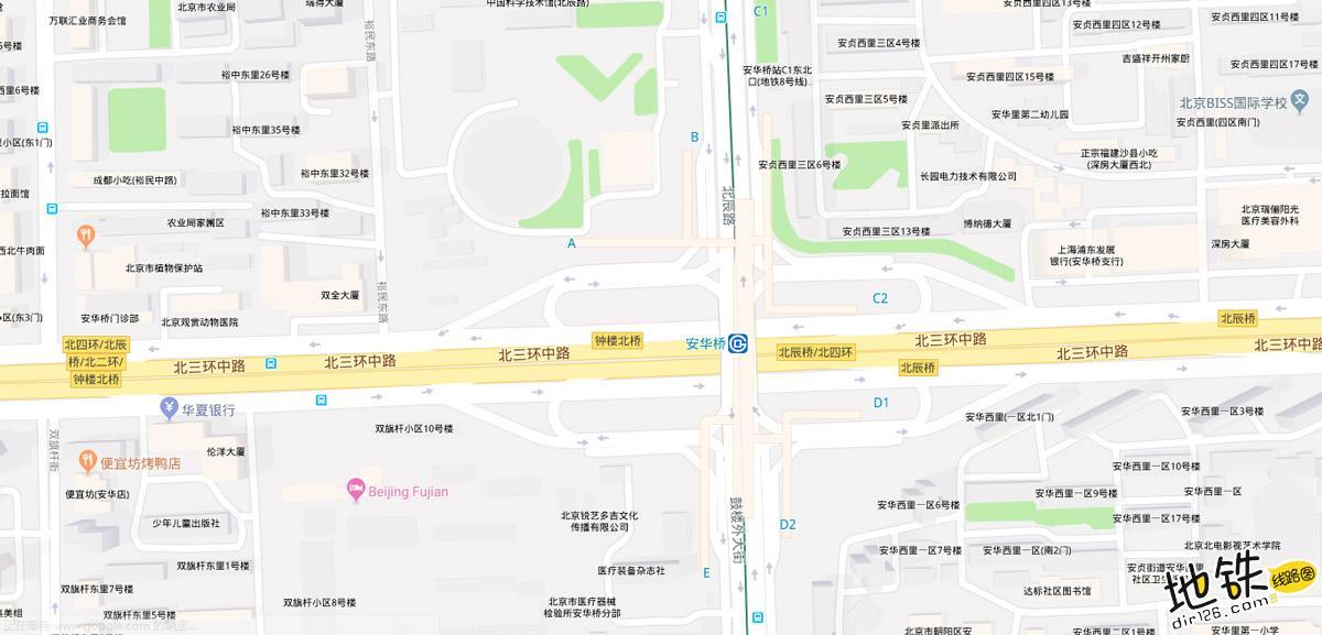 安华桥地铁站 北京地铁安华桥站出入口 地图信息查询  北京地铁站  第2张