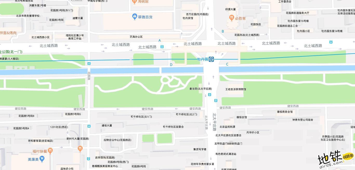牡丹园地铁站 北京地铁牡丹园站出入口 地图信息查询  北京地铁站  第2张