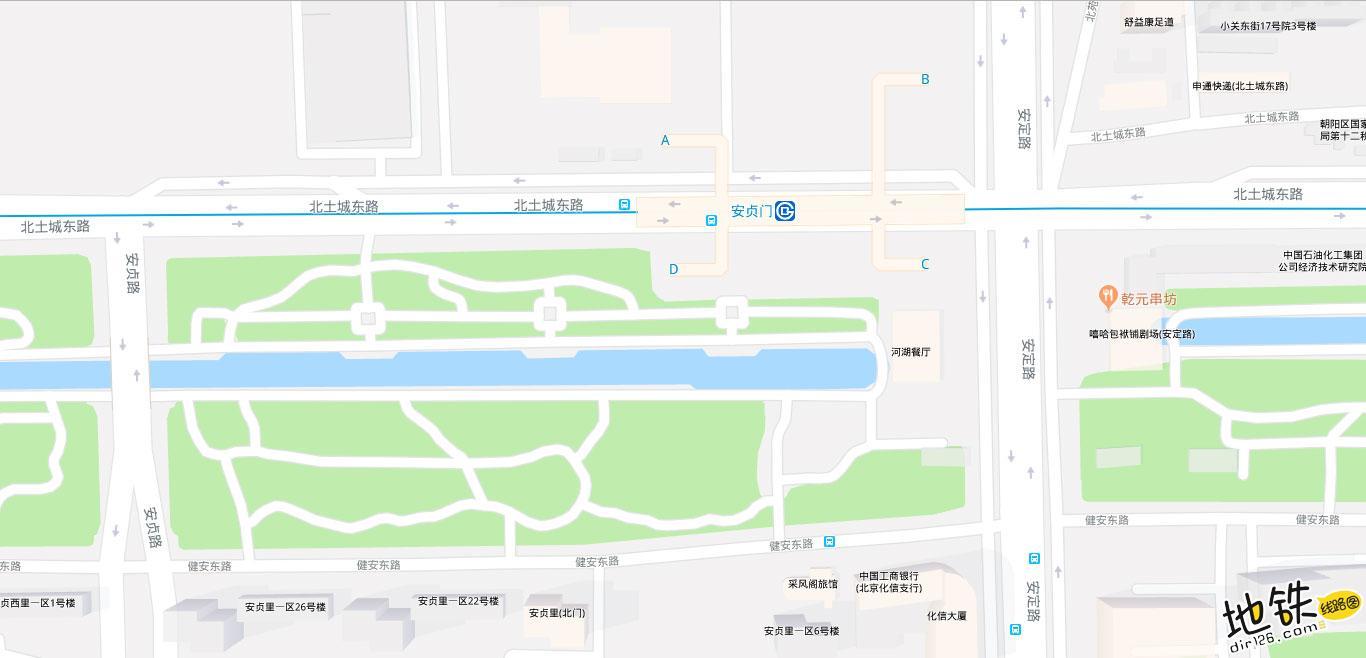 安贞门地铁站 北京地铁安贞门站出入口 地图信息查询  北京地铁站  第2张