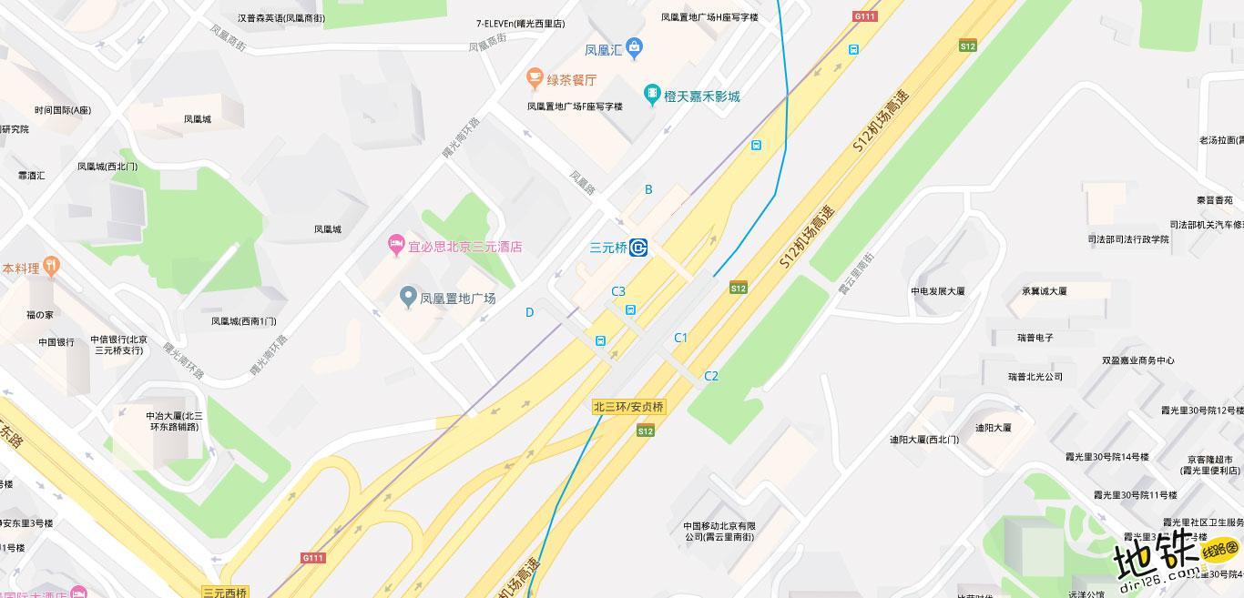 三元桥地铁站 北京地铁三元桥站出入口 地图信息查询  北京地铁站  第2张