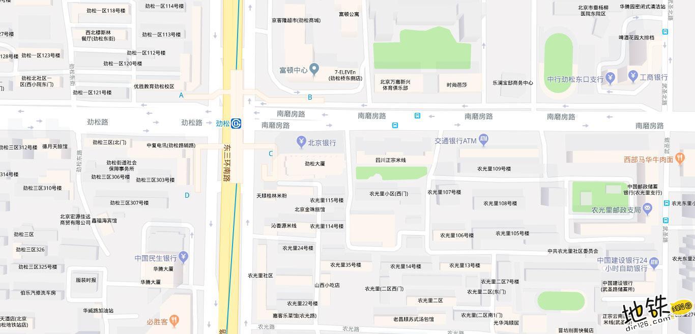劲松地铁站 北京地铁劲松站出入口 地图信息查询  北京地铁站  第2张