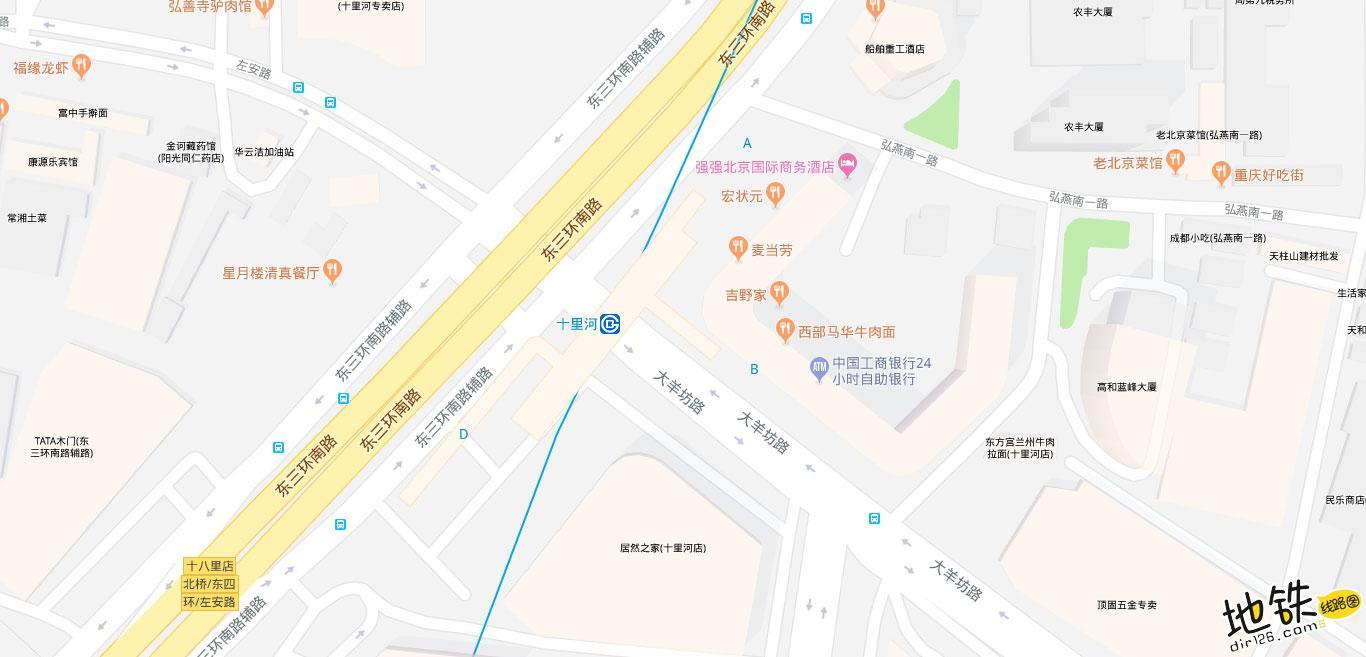十里河地铁站 北京地铁十里河站出入口 地图信息查询  北京地铁站  第2张