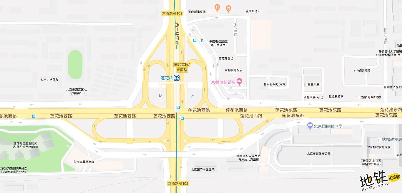 莲花桥地铁站 北京地铁莲花桥站出入口 地图信息查询  北京地铁站  第2张