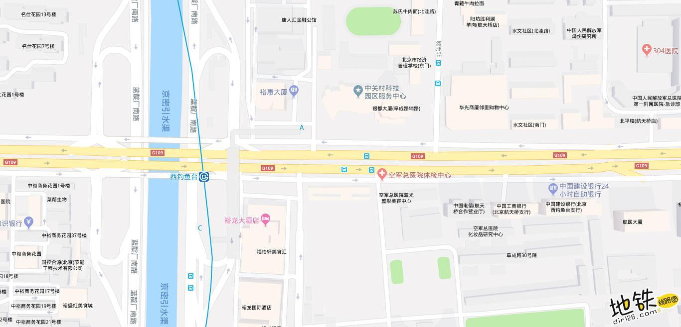 西钓鱼台地铁站 北京地铁西钓鱼台站出入口 地图信息查询  北京地铁站  第2张