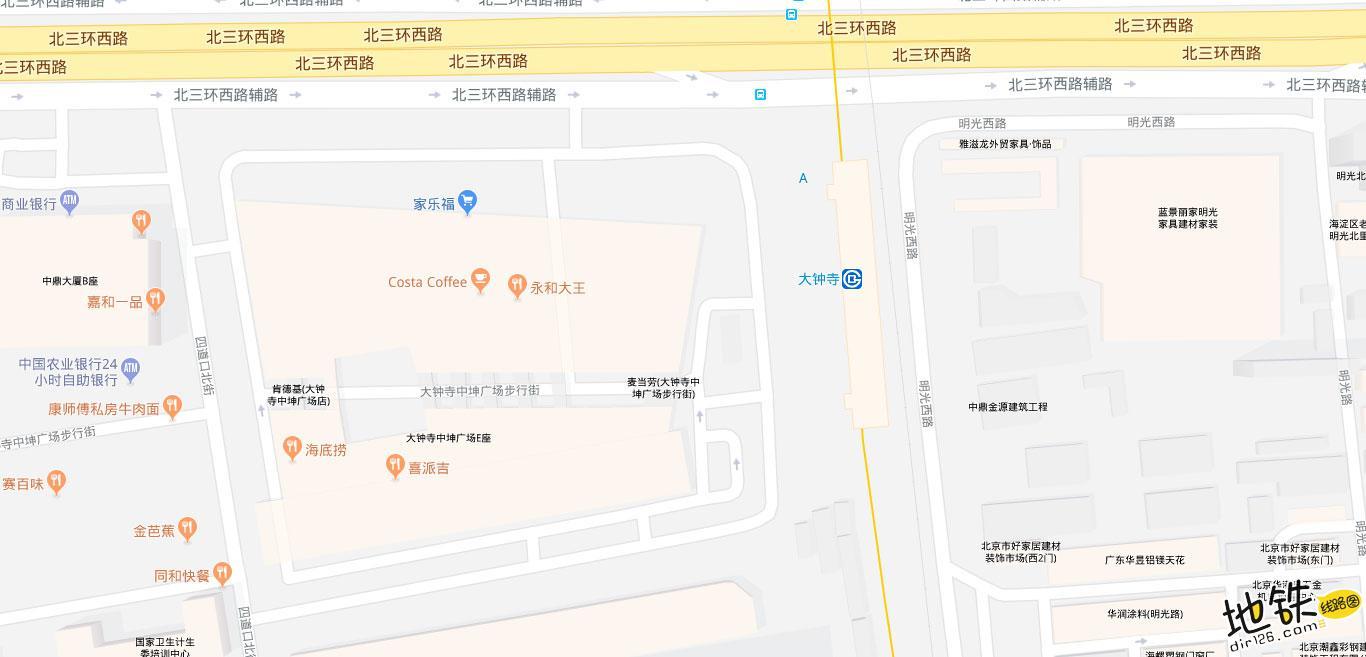 大钟寺地铁站 北京地铁大钟寺站出入口 地图信息查询  北京地铁站  第2张