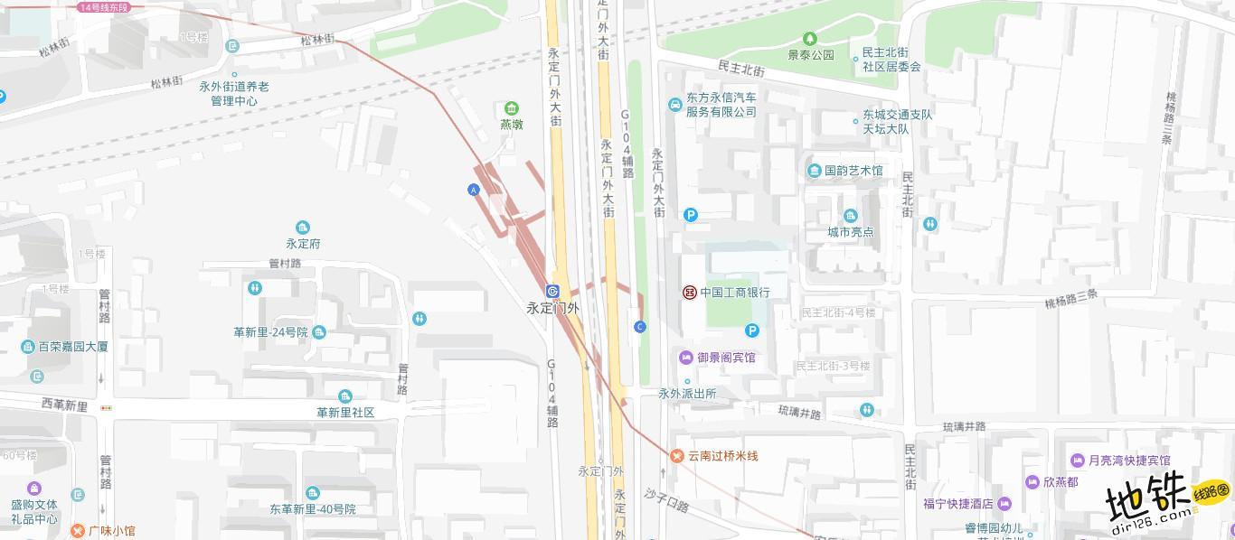 永定门外地铁站 北京地铁永定门外站出入口 地图信息查询  北京地铁站  第2张